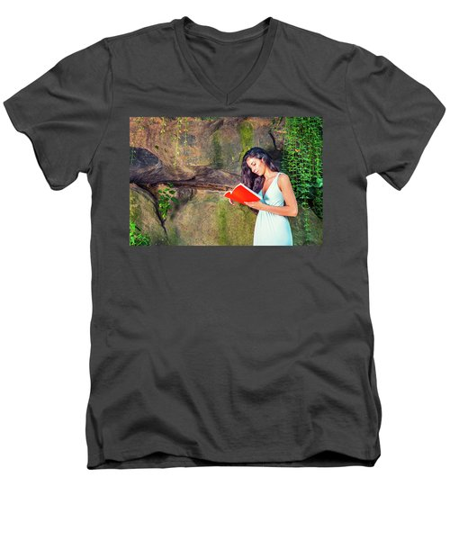 Young American Woman Reading Book At Central Park, New York, In  Men's V-Neck T-Shirt