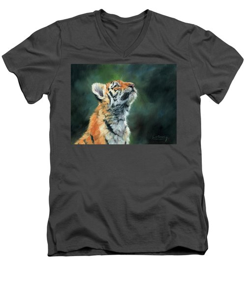 Men's V-Neck T-Shirt featuring the painting Young Amur Tiger by David Stribbling