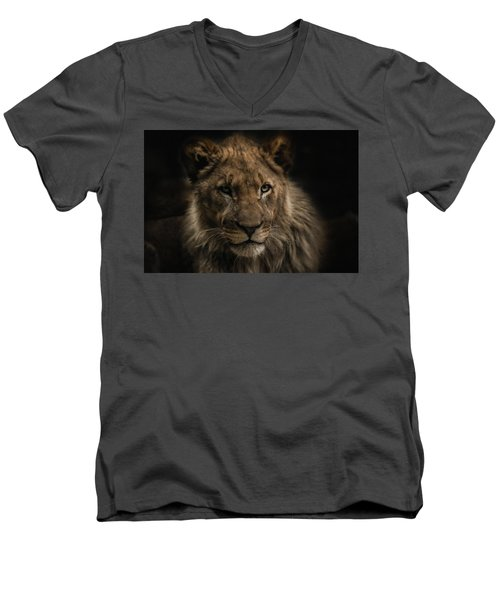 Young Lion Men's V-Neck T-Shirt