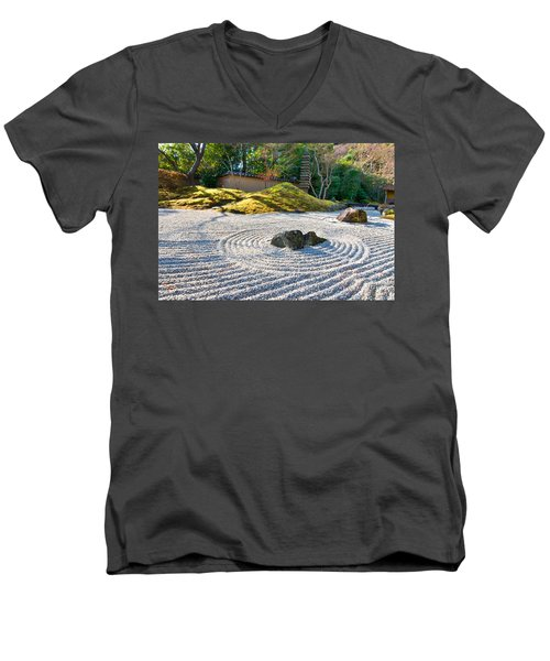 Zen Garden At A Sunny Morning Men's V-Neck T-Shirt by Ulrich Schade