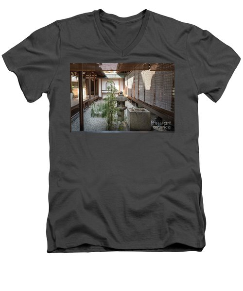 Zen Garden, Kyoto Japan Men's V-Neck T-Shirt