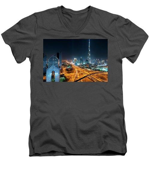 Amazing Night Dubai Downtown Skyline, Dubai, United Arab Emirates Men's V-Neck T-Shirt