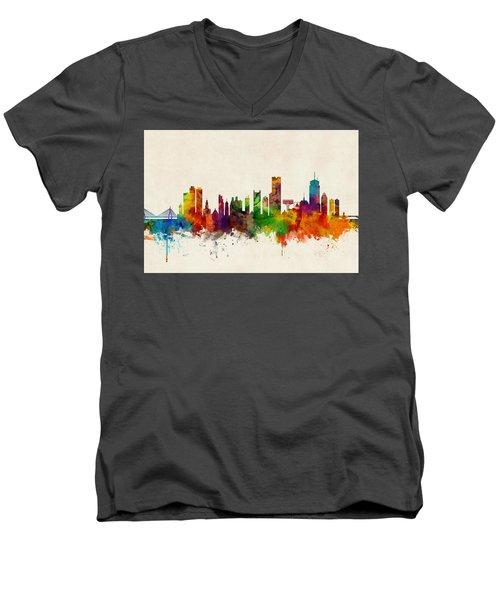 Boston Massachusetts Skyline Men's V-Neck T-Shirt by Michael Tompsett