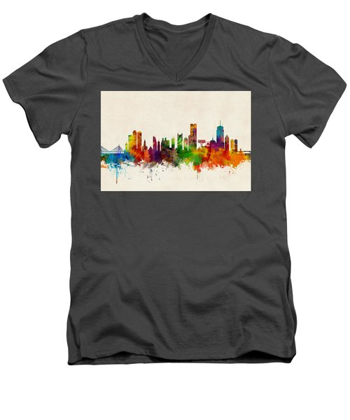 Boston Massachusetts Skyline Men's V-Neck T-Shirt