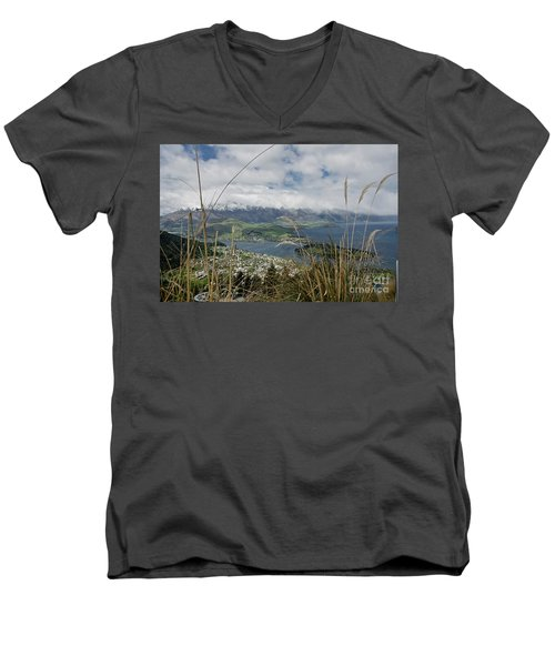 Queenstown New Zealand. Remarkable Ranges And Lake Wakatipu. Men's V-Neck T-Shirt