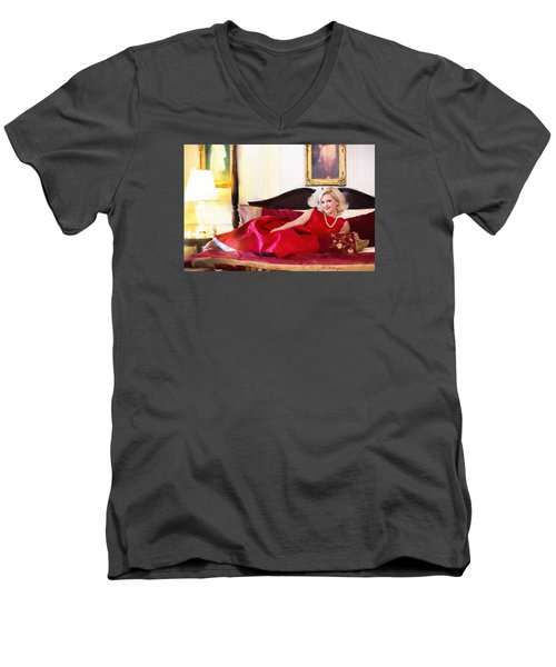 Vintage Val Home For The Holidays Men's V-Neck T-Shirt by Jill Wellington