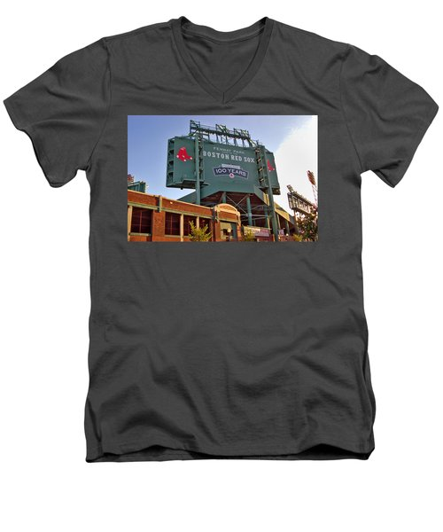 100 Years At Fenway Men's V-Neck T-Shirt by Joann Vitali