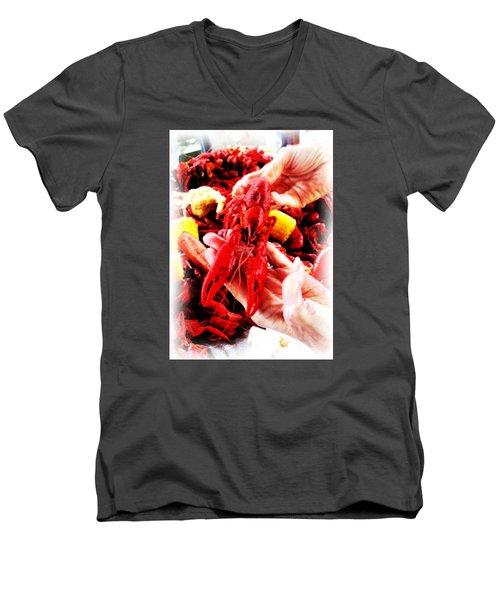 102715 Louisiana Lobster Men's V-Neck T-Shirt by Garland Oldham