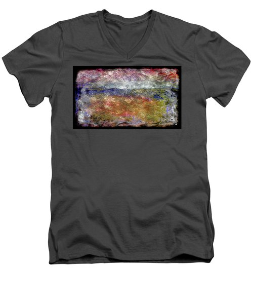 Men's V-Neck T-Shirt featuring the painting 10c Abstract Expressionism Digital Painting by Ricardos Creations