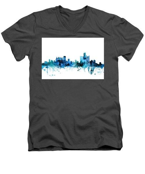 Detroit Michigan Skyline Men's V-Neck T-Shirt