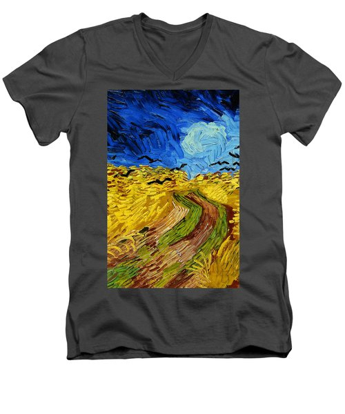 Wheatfield With Crows Men's V-Neck T-Shirt