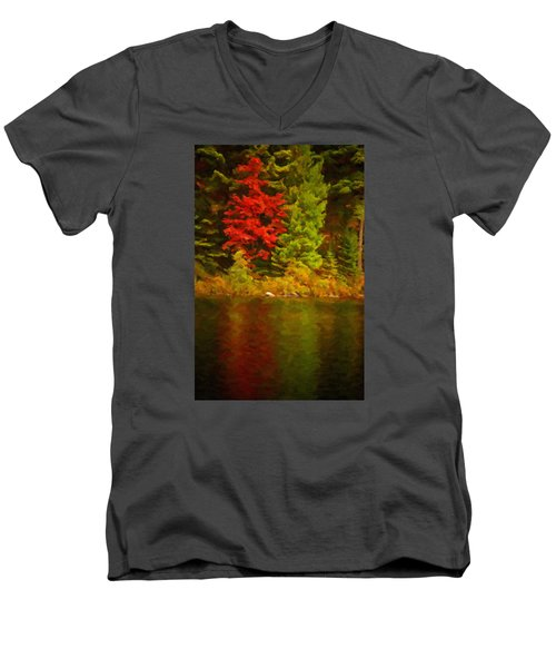 Fall Reflections Men's V-Neck T-Shirt by Andre Faubert