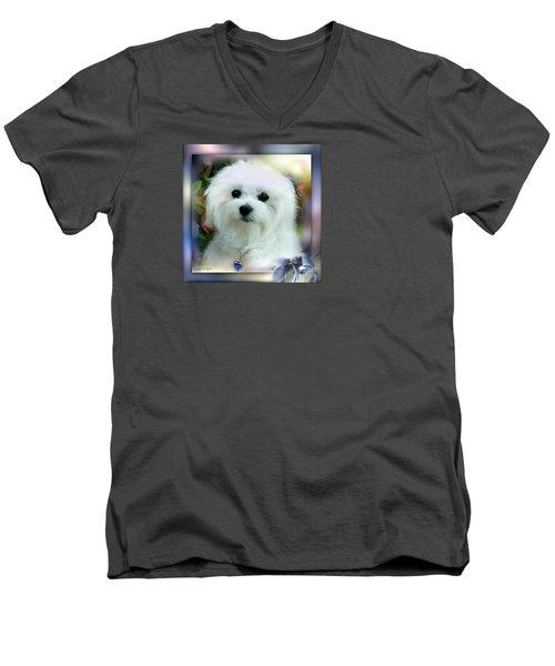 Hermes The Maltese Men's V-Neck T-Shirt by Morag Bates
