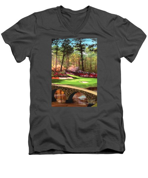 12th Hole At Augusta Ver Men's V-Neck T-Shirt by Tim Gilliland