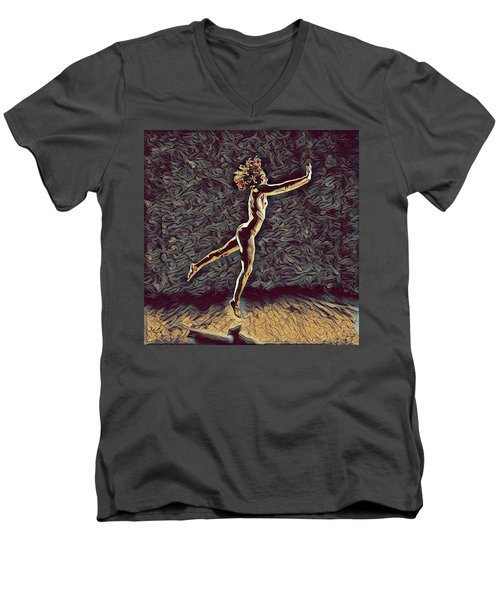 1302s-zak Naked Dancers Leap Nudes In The Style Of Antonio Bravo Men's V-Neck T-Shirt