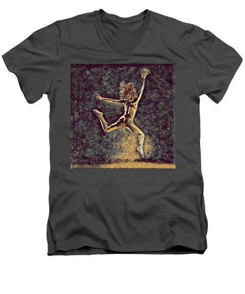 1307s-dancer Leap Fit Black Woman Bare And Free Men's V-Neck T-Shirt