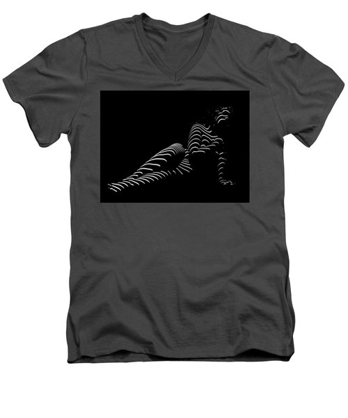 1370-tnd Zebra Woman Striped Woman Black And White Abstract Photo By Chris Maher Men's V-Neck T-Shirt