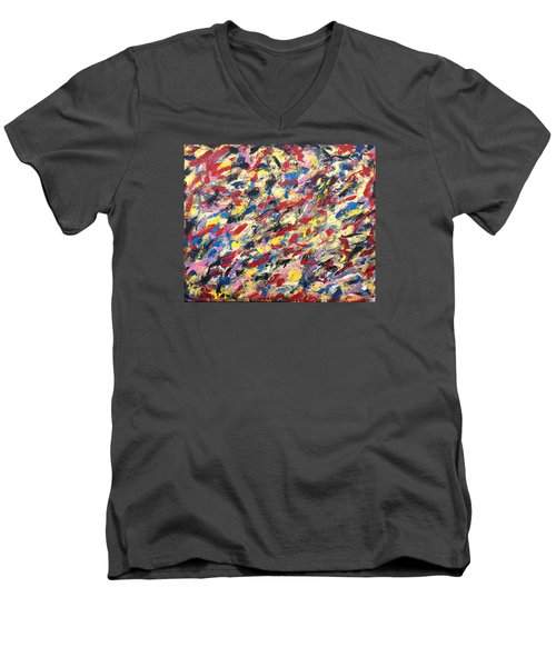 14k Gold Abstract Painting 48x60 Print Men's V-Neck T-Shirt