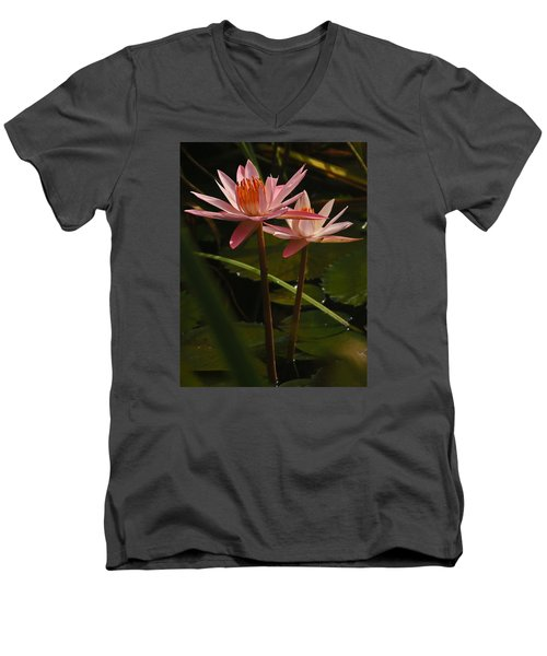 Water Lilly Men's V-Neck T-Shirt by Ronald Olivier