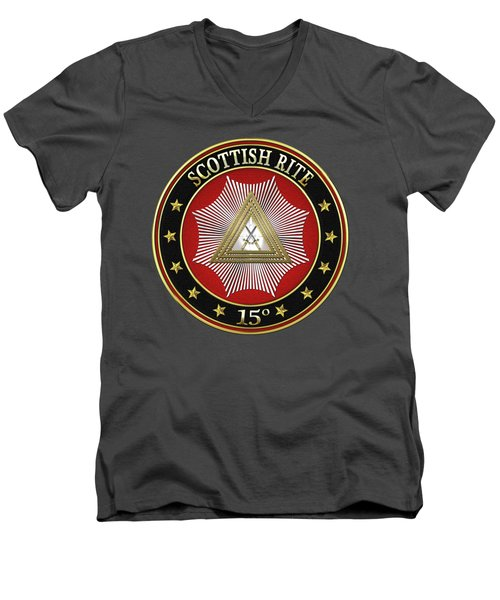 15th Degree - Knight Of The East Jewel On Red Leather Men's V-Neck T-Shirt by Serge Averbukh