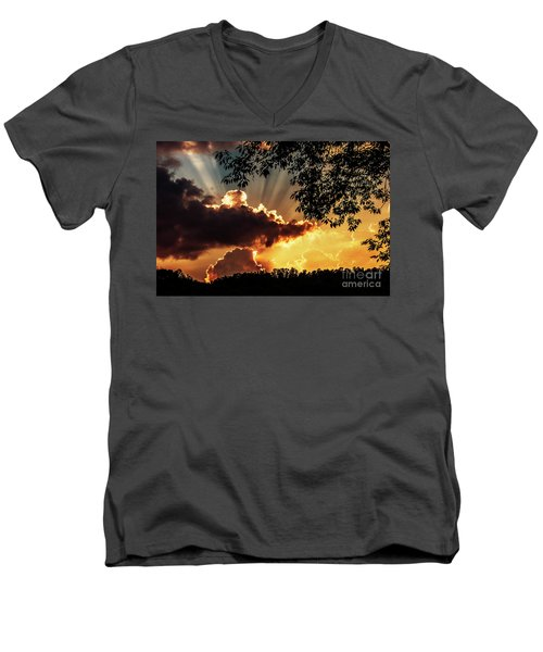 Men's V-Neck T-Shirt featuring the photograph Appalachian Sunset by Thomas R Fletcher