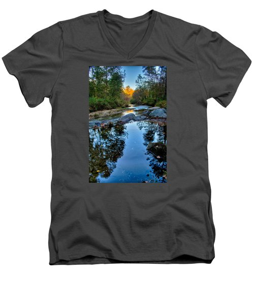 Stone Mountain North Carolina Scenery During Autumn Season Men's V-Neck T-Shirt