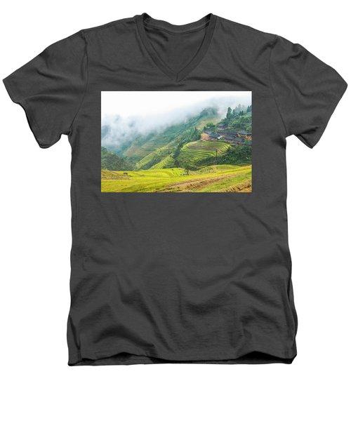 Terrace Fields Scenery In Autumn Men's V-Neck T-Shirt