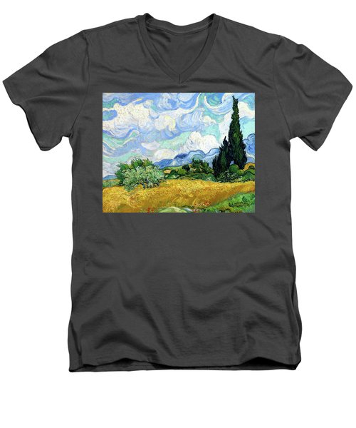 Wheat Field With Cypresses Men's V-Neck T-Shirt