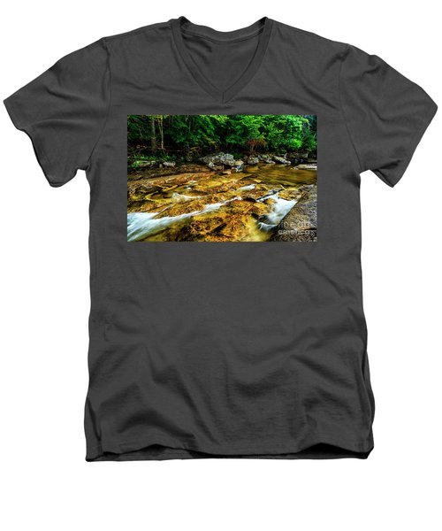 Men's V-Neck T-Shirt featuring the photograph Williams River Summer by Thomas R Fletcher