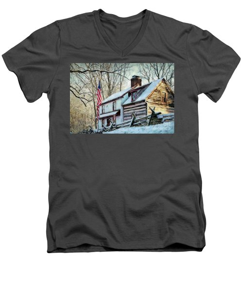 1700's Log House In West Chester, Pa Men's V-Neck T-Shirt