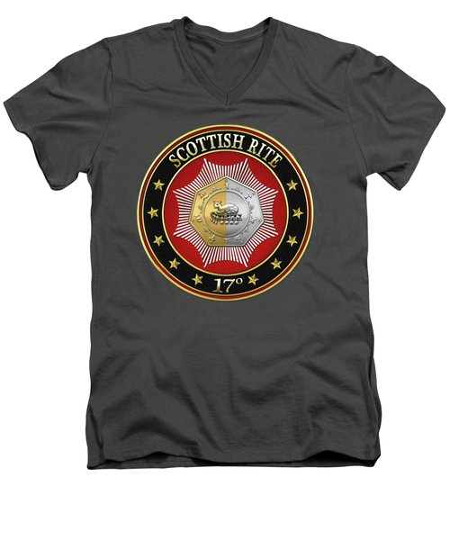 17th Degree - Knight Of The East And West Jewel On Red Leather Men's V-Neck T-Shirt