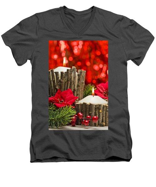 Men's V-Neck T-Shirt featuring the photograph Autumn Candles by Ulrich Schade
