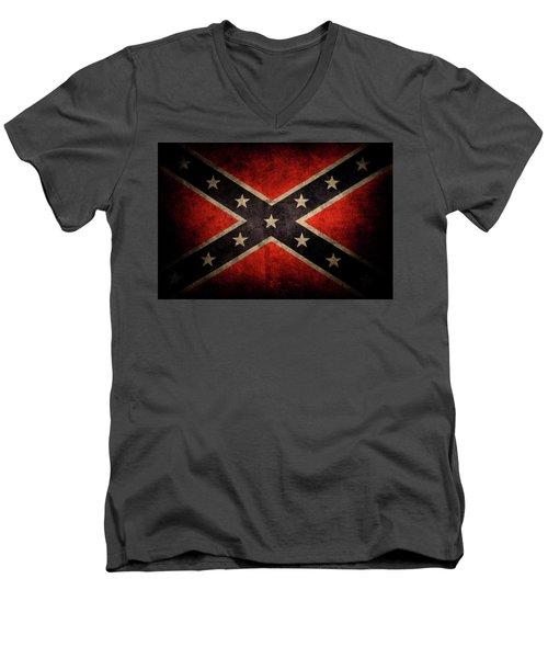 Confederate Flag Men's V-Neck T-Shirt by Les Cunliffe