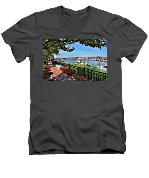 Men's V-Neck T-Shirt featuring the photograph 1812 Memorial Park - Lewes Delaware by Brendan Reals