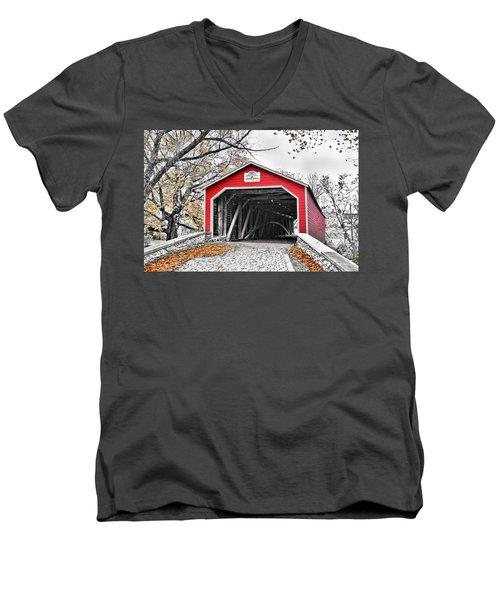 Men's V-Neck T-Shirt featuring the photograph 1839 Kreidersville Bridge by DJ Florek