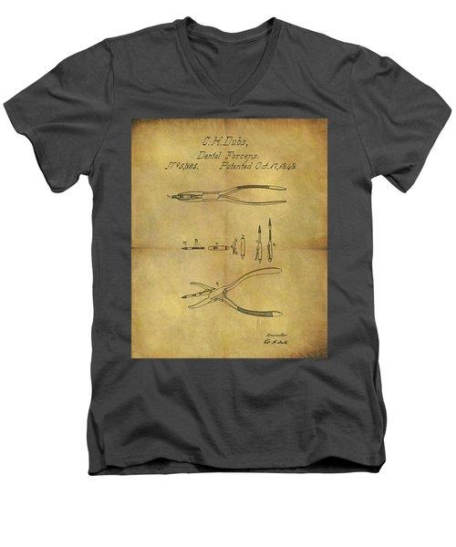1848 Dental Forceps Patent Men's V-Neck T-Shirt by Dan Sproul
