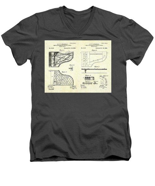 1880 Steinway Piano Forte Patent Art Sheets V2 Men's V-Neck T-Shirt by Gary Bodnar