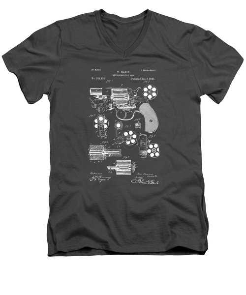 1881 Colt Revolving Fire Arm Patent Artwork - Gray Men's V-Neck T-Shirt by Nikki Marie Smith