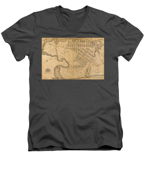 Men's V-Neck T-Shirt featuring the photograph 1885 Inwood Map  by Cole Thompson