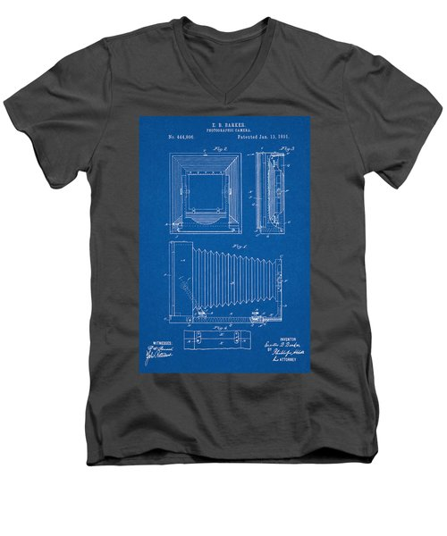 1891 Camera Us Patent Invention Drawing - Blueprint Men's V-Neck T-Shirt