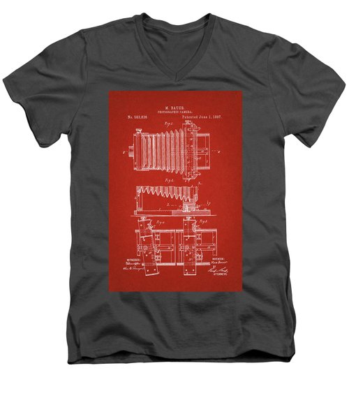 1897 Camera Us Patent Invention Drawing - Red Men's V-Neck T-Shirt