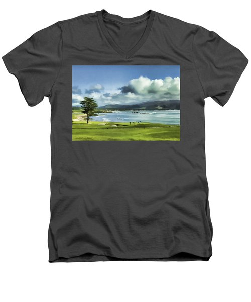 18th Hole Pebble Beach 2 Men's V-Neck T-Shirt