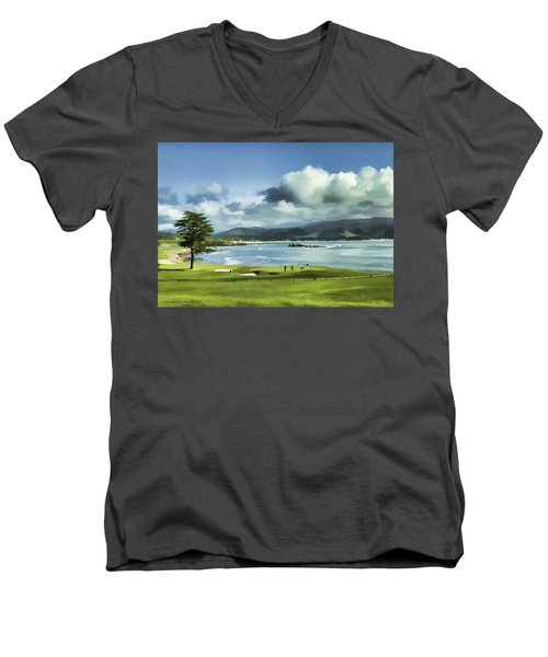 18th Hole Pebble Beach 2 Men's V-Neck T-Shirt