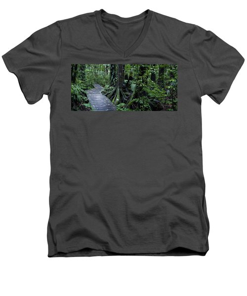 Men's V-Neck T-Shirt featuring the photograph Forest Boardwalk by Les Cunliffe