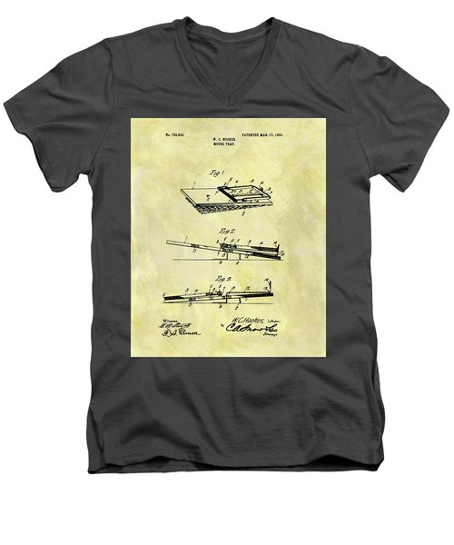 Men's V-Neck T-Shirt featuring the mixed media 1903 Mouse Trap Patent by Dan Sproul