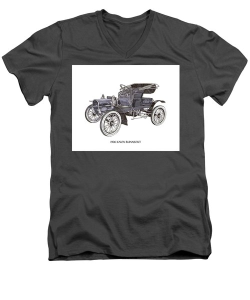 Men's V-Neck T-Shirt featuring the drawing 1906 Knox Model F 3 Surry by Jack Pumphrey