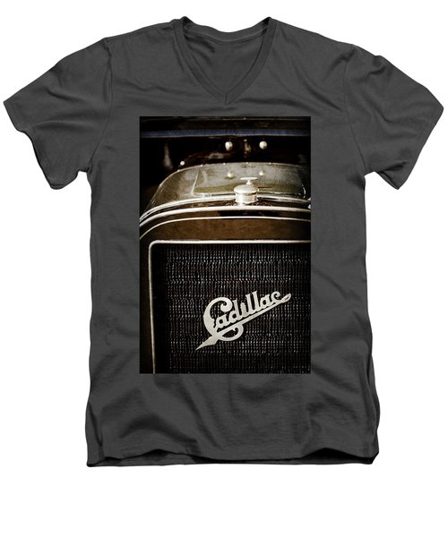 Men's V-Neck T-Shirt featuring the photograph 1907 Cadillac Model M Touring Grille Emblem -1106ac by Jill Reger