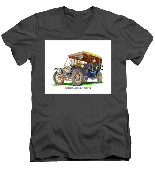 Men's V-Neck T-Shirt featuring the painting 1910 Knox Model R 5 Passenger  Touring Automobile by Jack Pumphrey