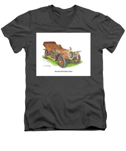 Men's V-Neck T-Shirt featuring the painting 1911 Delaunay Belleville Open Tourer by Jack Pumphrey