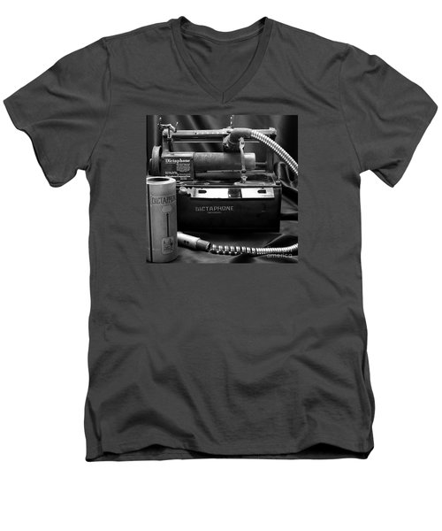 Men's V-Neck T-Shirt featuring the photograph 1912 Dictaphone  by Ricky L Jones